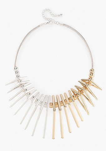 bebe Colorblock Geometric Metal Statement Necklace