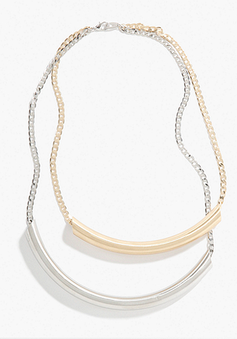 bebe Mixed Matte Metal Tube Necklace