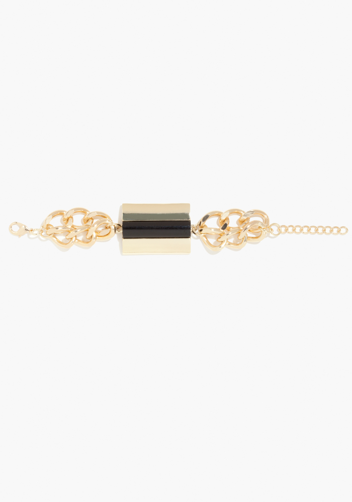 Multi Chain Statement Bracelet - Black/Gold - 1Sz