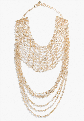 bebe Multi Chain Drape Statement Necklace