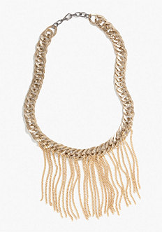 bebe Oversized Chainlink & Fringe Necklace