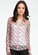 bebe Geometric Silk Button Up Blouse