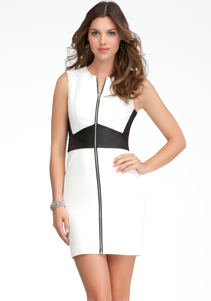 Zipper Front Leather Waist Dress