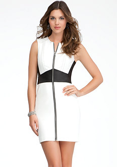 bebe Zipper Front Leather Waist Dress