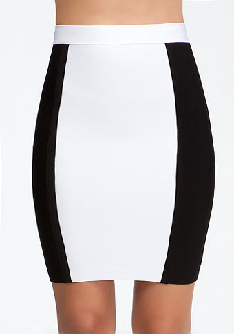 bebe Colorblock Knit Pencil Skirt
