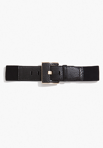 bebe Leatherette Snake Buckle Belt