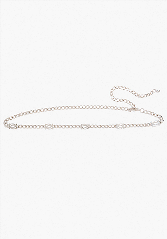 bebe Interlocking Logo Chain Belt