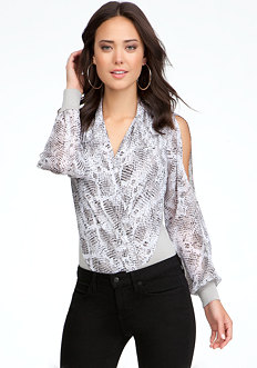 bebe Printed Long Sleeve Wrap Bodysuit