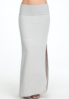 bebe Logo Fold Over Maxi Skirt