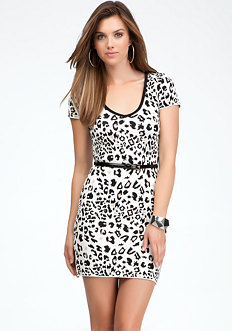 bebe Leopard Jacquard Belted Dress