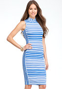 bebe Stripe Mock Neck Midi Dress