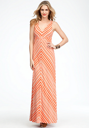 bebe Striped V-Neck Maxi Dress