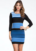 bebe Colorblock Stripe Knit Dress