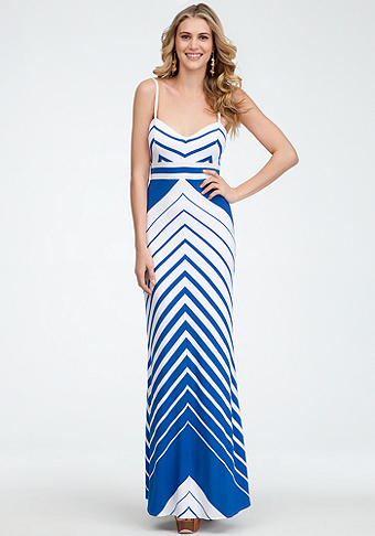bebe Empire Waist Stripe Maxi Dress