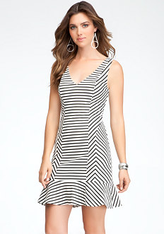 bebe Stripe V-Neck Flounce Dress