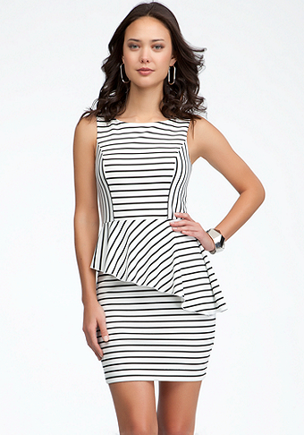 Asymmetric Stripe Peplum Dress at bebe