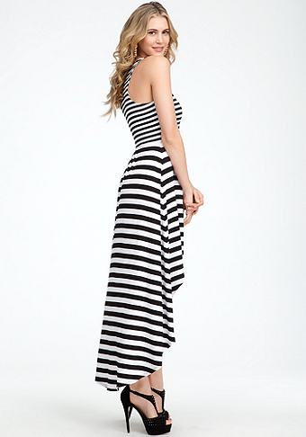 Mixed Stripe High Low Maxi Dres at bebe