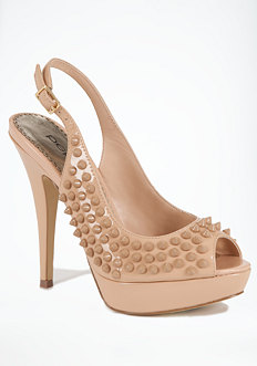 Devin Stud & Leather Slingback Pump at bebe