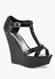 Georgia Stud Patent Leather Wedge at bebe