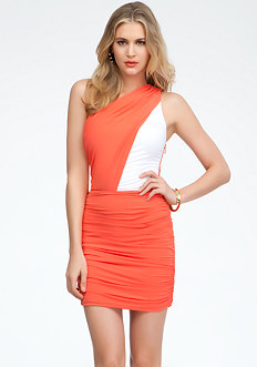 bebe Two Color Bodice One Shoulder Dress