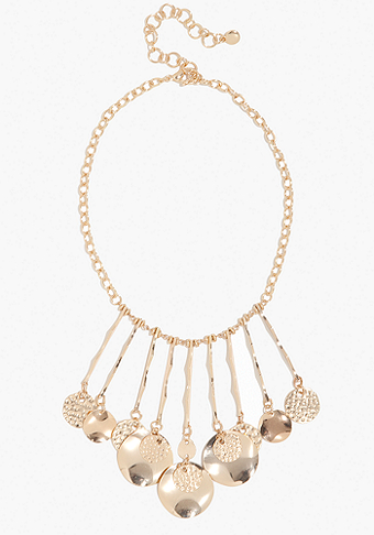 bebe Hammered Coin Statement Necklace