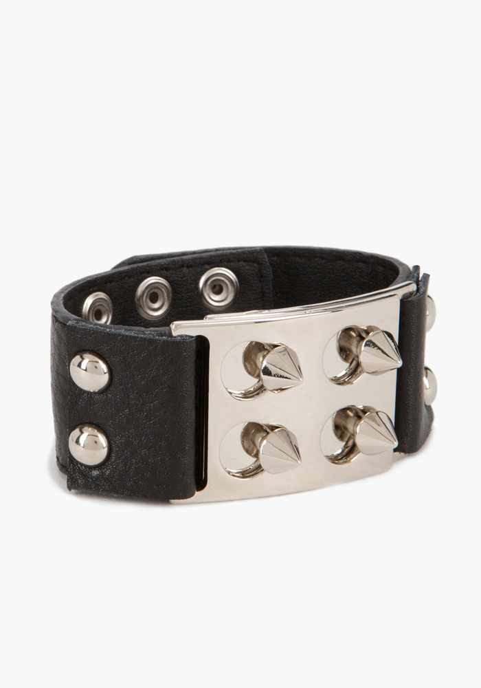 Leather & Spike Bracelet - Black/Silver - 1Sz