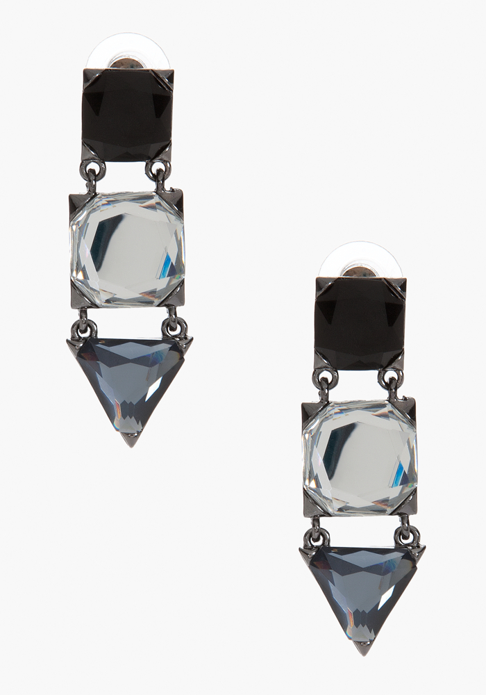 Geometric Stone Drop Earring - Black Crystal - 1Sz