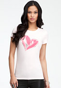 bebe Basic Heart Crew Neck Tee