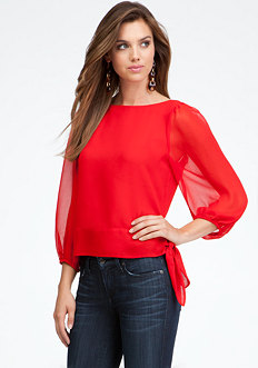 Blouson Sleeve Tie Hem Blouse - ONLINE EXCLUSIVE at bebe