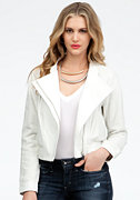 Perforated Contrast Leather Bomber Jacket at bebe