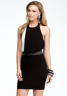 bebe Colorblock Chain Halter Dress
