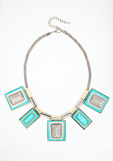 bebe Oversized Rectangular Stone Statement Necklace
