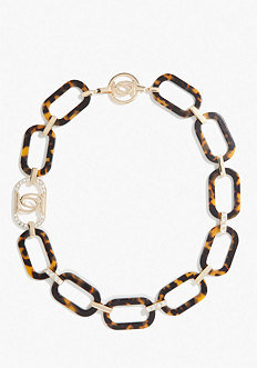 bebe Logo Tortoise Link Necklace