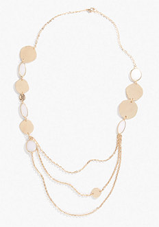 bebe Coin & Metal Strand Necklace