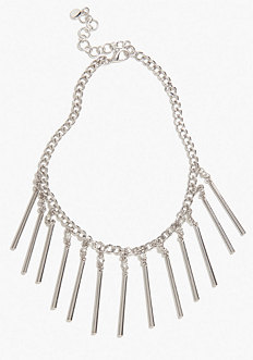 bebe Chain & Crystal Bar Statement Necklace