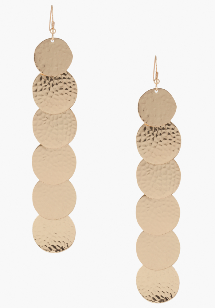 Hammered Disc Linear Earring - Gold - 1Sz