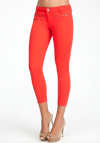 Multi Zipper Crop Jeans at bebe
