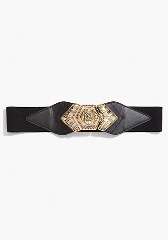 bebe Leatherette & Metal Stretch Belt