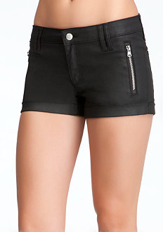 bebe Matte Coated Zipper Short