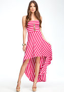 bebe Strapless Stripe Hi-Lo Dress
