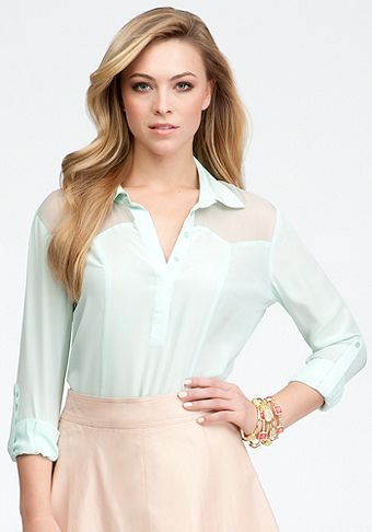 bebe Sheer Yoke Button Up Bodysuit