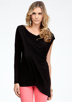bebe Draped Asymmetric Top