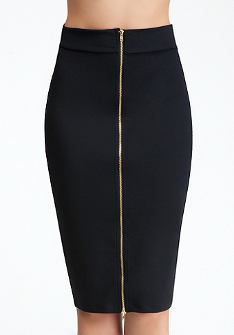 bebe Two Zip Midi Skirt