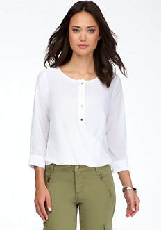 bebe Twist Hem Sheer Button Up Blouse