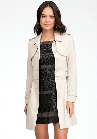 bebe Colorblock Fit & Flare Trench Coat