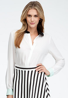 bebe Colorblock Collar Button Up Blouse