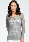 bebe Open Stitch Metallic Yarn Top