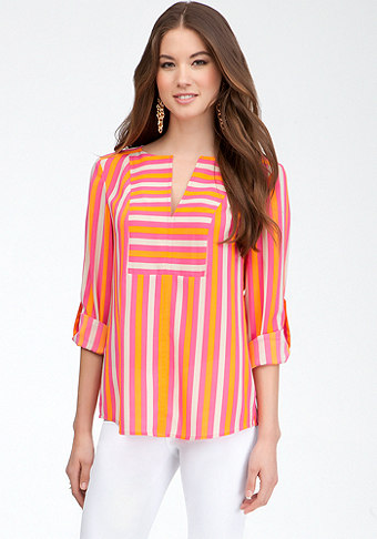 bebe Tricolor Stripe V-Neck Tunic