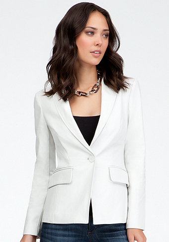 bebe Leather Single Button Blazer