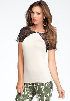 bebe Lace Yoke Boat Neck Top
